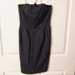 Express Strapless Grey Pinstripe Dress
